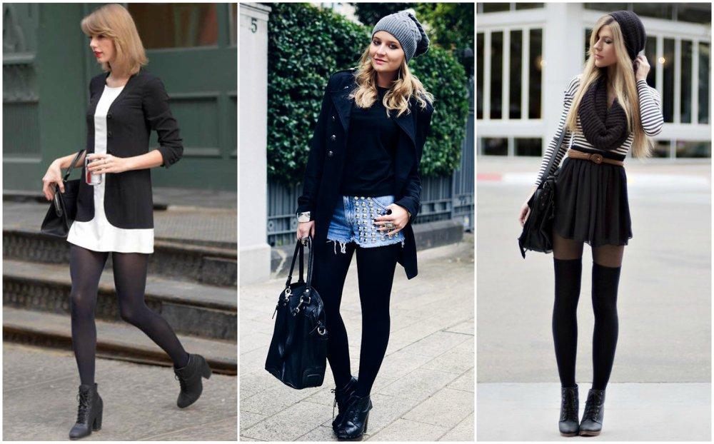Vestidos con medias panty negras