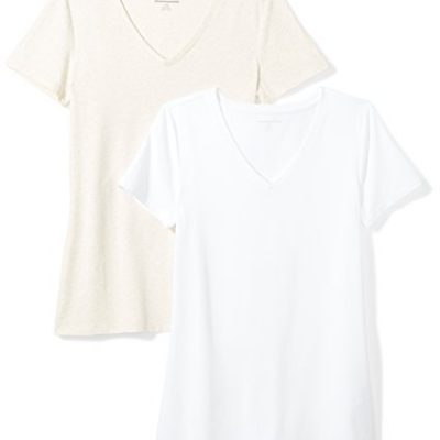 e231729ca6d7 Amazon Essentials Women's 2-Pack Short-Sleeve V-Neck T-Shirt,