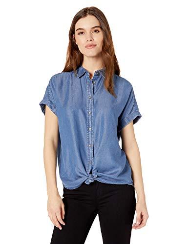 e92d2df850ea Daily Ritual Women's Tencel Relaxed-Fit Short-Sleeve Shirt, Medium Wash, XX